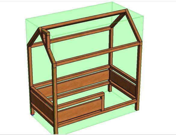 чертеж кроватки домика